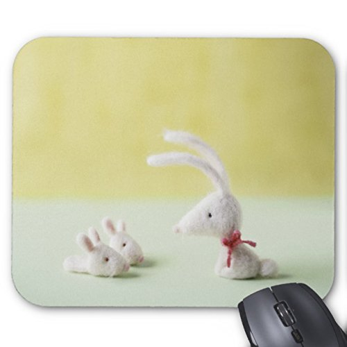 UOOPOO Felt Bunny & Slippers Mouse Pad Rectangle Non-Slip Rubber Mousepad Gaming Mouse Pads 9.8 x 11.8 x 0.12 Inch(Pattern: Print)