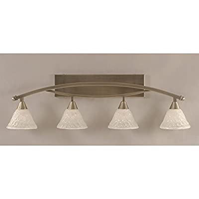 """Toltec Bow 4 Light Bath Bar in Brushed Nickel with 7"""" Italian Bubble Glass"""