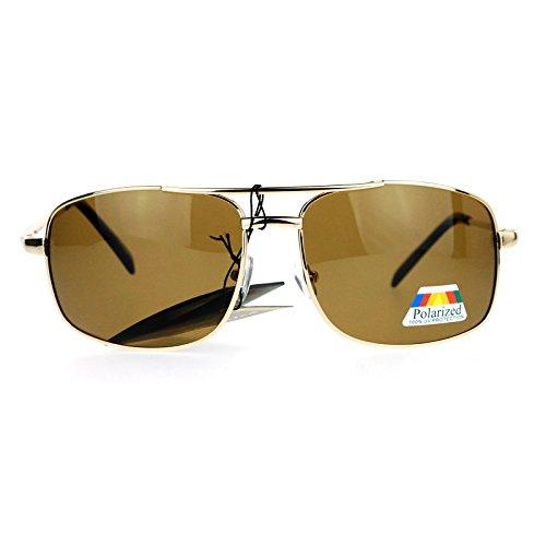 SA106 Anti Glare Polarized Lens Narrow Rectangular Navigator Sport Sunglasses - Navigator Gold