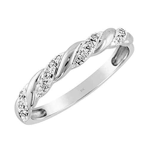 Brilliant Expressions 10K White Gold 0.06 Cttw Conflict Free Diamond-Accented Twist Wedding or Anniversary Band (I-J Color, I2-I3 Clarity), Size ()