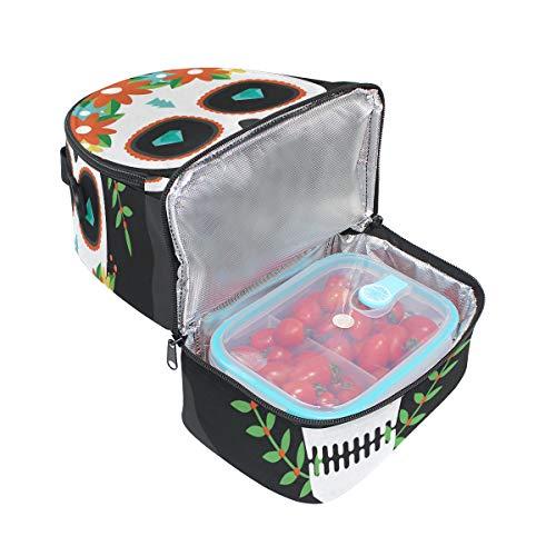 caja de escuela con correa almuerzo nevera con aislado floral de para hombro calavera pincnic estampado de ajustable bolsa la azúcar de FOLPPLY 6wHqPv4O