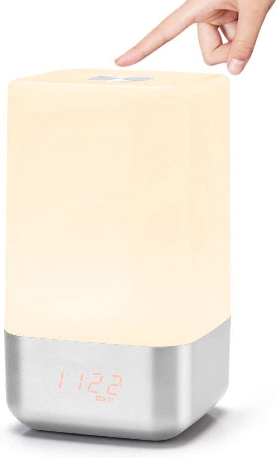 Yuehuam Wake-Up Light Alarm Clock, EECOO Sunrise Simulation Bedside Lamp with 5 Natural Sounds