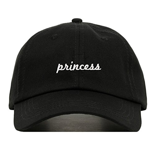 Princess Dad Hat, Embroidered Baseball Cap, 100% Cotton, Unstructured Low Profile, Adjustable Strap Back, 6 Panel, One Size Fits Most (Multiple Colors) (Black) ()
