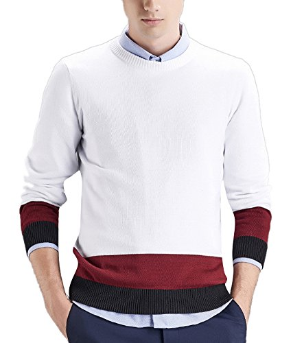 Men's Casual Fitted Crew Neck Striped Knit Pullover Sweater White 3XL (Sweater Crewneck Lambswool Striped)