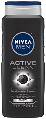 NIVEA FOR MEN Body Wash Active Clean 16.9 oz (Pack of 4)