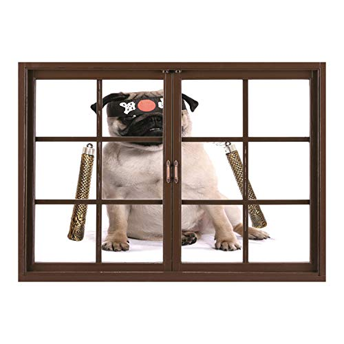 SCOCICI Wall Mural, Removable Sticker, Home Décor/Pug,Ninja Puppy with Nunchuk Karate Dog Eastern Warrior Inspired Costume Pug Image Decorative,Cream Black Gold/Wall Sticker Mural -