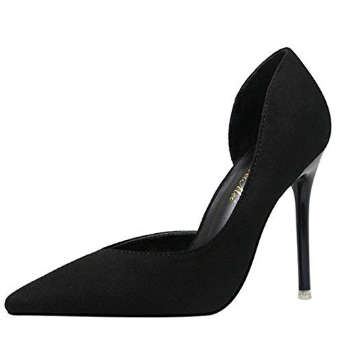 Mashiaoyi Damen Spitze-Zehe Stiletto ohne Verschluss Pumps Schwarz