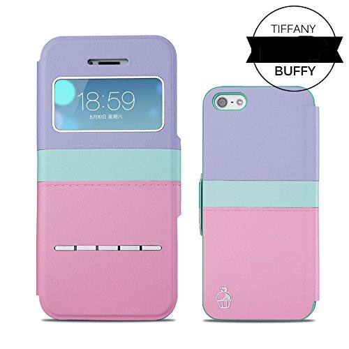 Pioneer Tech® New Style Girly Tiffany PU Leather S-view Window Flip Slim Case Cover for Apple iPhone 5 5s (Parfait)