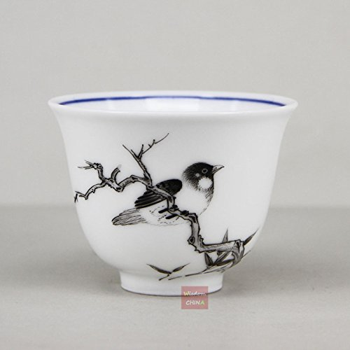 Hand Painted Bird Mocai China Famille-rose porcelain tea cup Fine Handmade 55cc