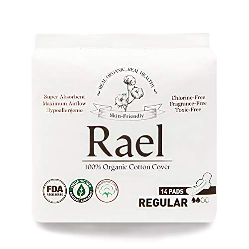 (Rael Certified Organic Cotton Menstrual Regular Pads, Ultra Thin Natural Sanitary Napkins with Wings (28 Total), Pack of 2)