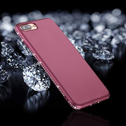 QGT for iPhone 8 Plus & 7 Plus Crystal Decor Sides Frosted Soft TPU Protective Back Case (Black) (Color : Purple)