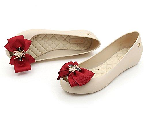 On Shoe Sweet Flats White Jelly Toe Peep Waterproof Women's Colorful pit4tk Red Slip Shoes BSvdqnPxww