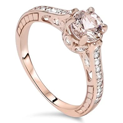 1ct Morganite & Diamond Vintage Engagement Ring 14K Rose Gold