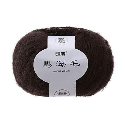 Brown Mohair Light (Transer Lightweight Soft Mohair Cashmere Hand Knitting Wool Crochet Knitwear Yarn for Knitting, Crocheting, Weaving - 41 Colors, 25.0g / Skein (34))