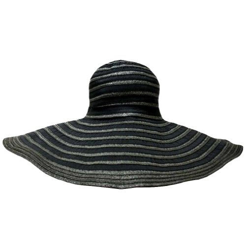 "Luxury Divas Black On Black 7"" Wide Brim Striped Floppy Hat"