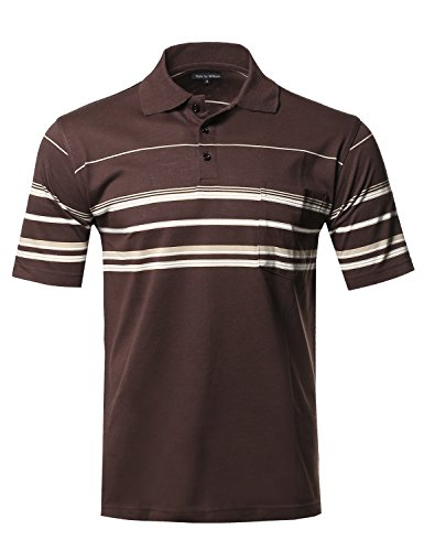 Stripe Casual Shirt (Style by William Basic Everyday Stripe Pocket Polo T-Shirt Brown L)