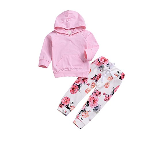 MILWAY Newborn Infant Toddler Baby Girls Clothes Set Pink Hoodies Tops with Kangaroo + Floral Pants Outfits Set (70/0-3Months, Pink) by MILWAY