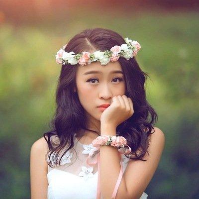 Meiliy Bridal Flower Garland Crown Flower Headband Flower Girl Headpiece Hair Wreath Halo with Flower Wrist Corsage for Wedding Festivals