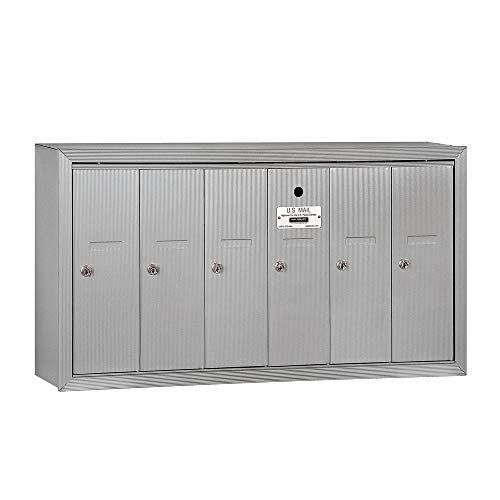 Commercial Door Mailbox - Salsbury Industries 3506ASU Surface Mounted Vertical Mailbox with 6 Doors and USPS Access, Aluminum