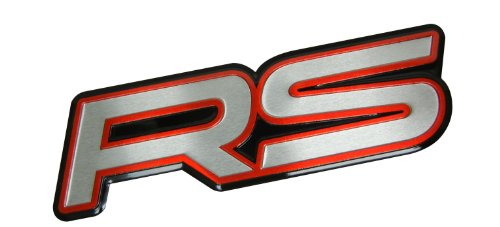 RS Red Black Silver Highly Polished Aluminum Silver Chrome Car Truck Engine Swap Badge Nameplate Emblem for Chevy Chevrolet Camaro RS SS 2SS Z28 Ford Focus ZX3 ZX5 Escort Cosworth