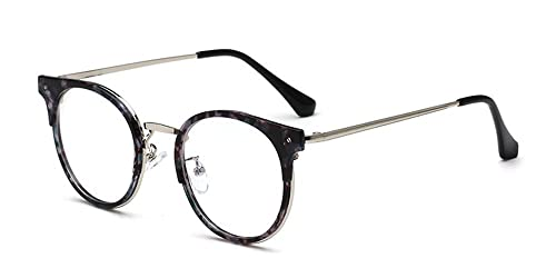 ceadd2059a51c KINDOYO Retro TR90 Metal Marco Nerd Transparentes Lente Claro Redondas  Gafas Mujer Hombre, Marrón