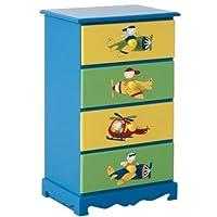 Chest of Drawers Kids Bedroom 4 Drawer Wooden Childrens Bedside Cabinet Blue