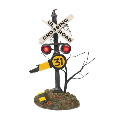 Department 56 Accessories for Villages Halloween Haunted Rails Crossing Sign Accessory Figurine (Department 56 Haunted Rails)