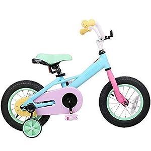JOYSTAR Macarons Kids Bike with Training Wheels & Coaster Brake for 3 5 Years Kids, 85% Assembled (12 & 14 inch)