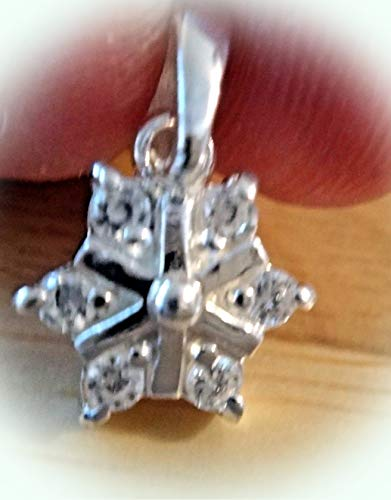 - Sterling Silver 12x21mm with Bale Clear Crystals on Snowflake Charm Pendant Vintage Crafting Pendant Jewelry Making Supplies - DIY for Necklace Bracelet Accessories by CharmingSS