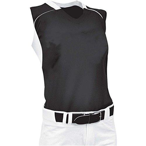ChamproレディースノースリーブレーサーバックSoftball Jersey B00JARBWVU X-Large|ブラック/ホワイト ブラック/ホワイト X-Large