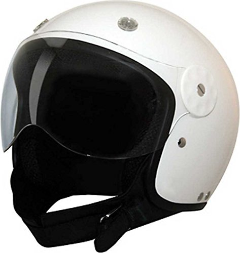 HCI White Open Face Fiberglass Motorcycle Helmet w/Face Shield 15-700 (Large)
