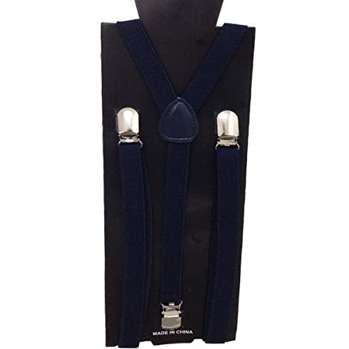 JTC Child Kid Adjustable Elastic Suspenders Solid Color Y Back Design Navy Blue save more