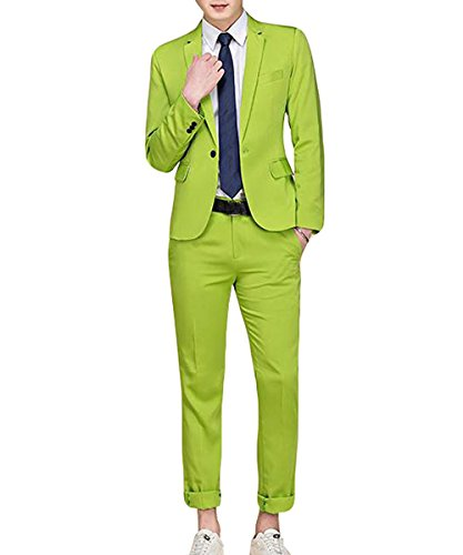 Cloudstyle Men's Suit Single-Breasted One Button Center Vent 2 Pieces Slim Fit Formal Suits Green