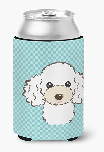 (Checkerboard Blue White Poodle Can or Bottle Hugger BB1195CC)