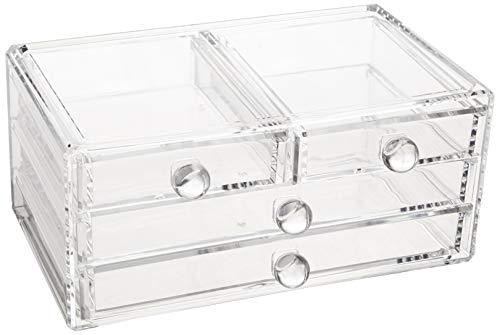 AmazonBasics 4-Drawer Acrylic Beauty Organizer (Acrylic Drawers Large)