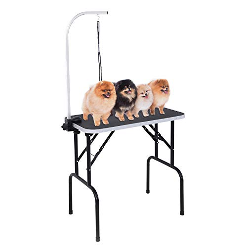 SUNCOO 32 Inch Adjustable Pet Dog Cat Grooming Table Professional Foldable Height Drying Trimming Table w/Arm & Noose