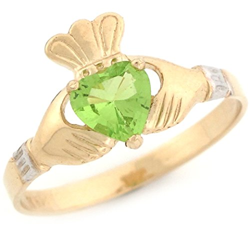 Jewelry Liquidation 10k Two Toned Gold Claddagh Simulated Peridot August Birthstone Ring
