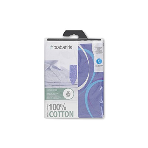 Brabantia European Deluxe Replacement Ironing Board Cover with 2 mm Foam Insert - Size C - Moving Circles in Purple 49 x 18