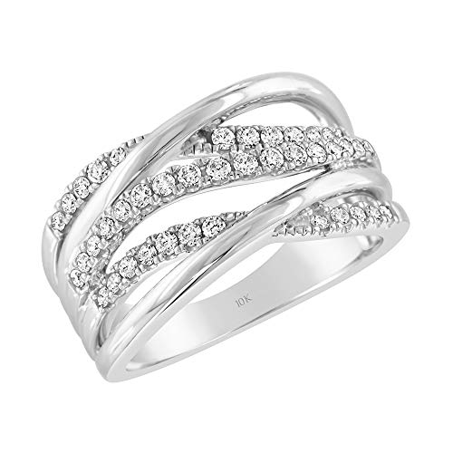 - Brilliant Expressions 10K White Gold 1/2 Cttw Conflict Free Diamond Multi-Band Criss Cross Fashion Ring (I-J Color, I2-I3 Clarity), Size 8