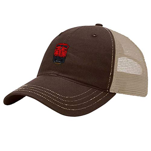 (Trucker Hat Richardson Train SD60M Embroidery Design Cotton Soft Mesh Cap Snaps Brown/Khaki Design Only)