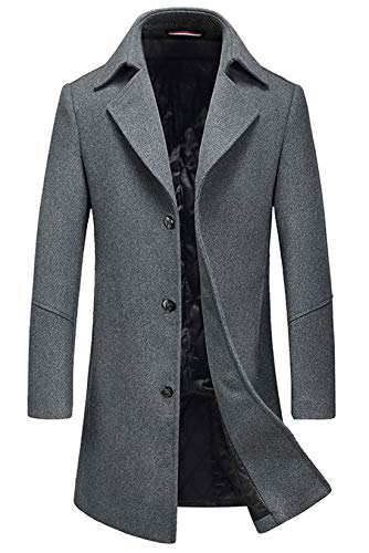 (Chartou Men's Premium Three-Button Slim Wool Blend Twill Long Business Casual Pea Coat (Grey, Medium))