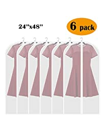 Adalite Long Garment Bag, 48-inch Hanging Suit Bag Full Zipper for Dust-Proof for Clothes Storage, Clear Lightweight Bag for Travel, 6 Pack