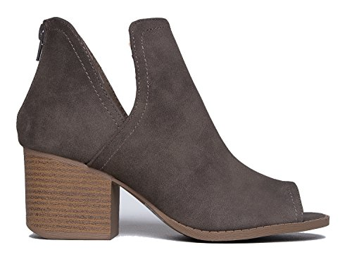 Stacked Pu Out J Ankle Shoe Taupe Cut Bootie Western Low Boot Heel Comfortable Adams Tabs Walking qYZfw0