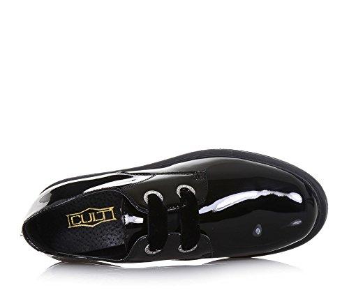 de44d75e3b CULT - Schwarzer Halbschuh mit Schnürsenkeln aus Lackleder, mit  Schnürsenkeln aus Samt, Mädchen, Damen-33: Amazon.de: Schuhe & Handtaschen