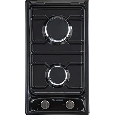 Verona VECTG212FDE 12 Gas Cooktop With 2 Sealed Burners Front Controls Electronic Ignition Emerald Steel Grates and Porcelain Caps In