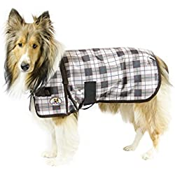 cuteNfuzzy Green Fawn Plaid Super Tough 1200D Dog Coat with Fleece Lining with 2 year limited warranty, XX-Large