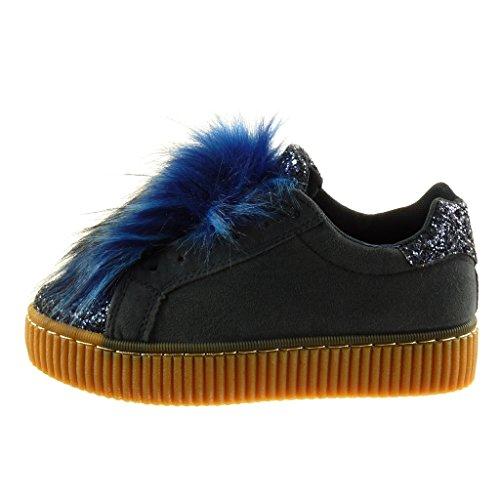 da Scarpe finitura Moda Angkorly pelliccia 5 Blu materiale CM Tacco tacco bi donna strass cuciture impunture Sneaker zeppe 3 piatto d5q1x1Evw