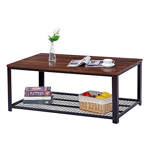 (Vintage Industrial Coffee Table, Cocktail Table with Storage Shelf for Living Room, Easy Assembly, Dark Walnut Wood Look Furniture with Stable Metal Frame, Easy Assembly End Table, Brown)