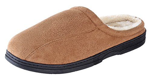 (Urban Fox Mason Suede Mens Slippers I Micro-Suede I Rubber-Sole I Thickly Padded I 100% boa Lining I Comfortable House Slippers I Chestnut 11-12)