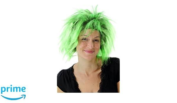 WIG ME UP - Peluca punki, aos 80, Glam, carnaval, fiesta disfraces, negro y verde. PW0078-P103PC15: Amazon.es: Juguetes y juegos